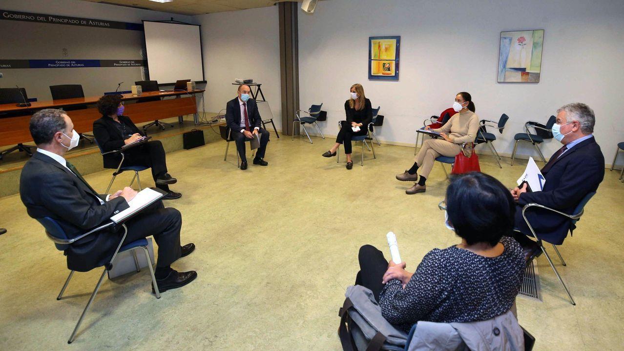 Carril de tren de Arcelor, en Veriña.El vicepresidente del Gobierno y consejero de Administración Autonómica, Medio Ambiente y Cambio Climático, Juan Cofiño (3i), y la consejera de Cultura, Política Llingüística y Turismo, Berta Piñán (2i), se reunieron este martes con el presidente de la Federación Asturiana de Empresarios (FADE), Belarmino Feito (2d).