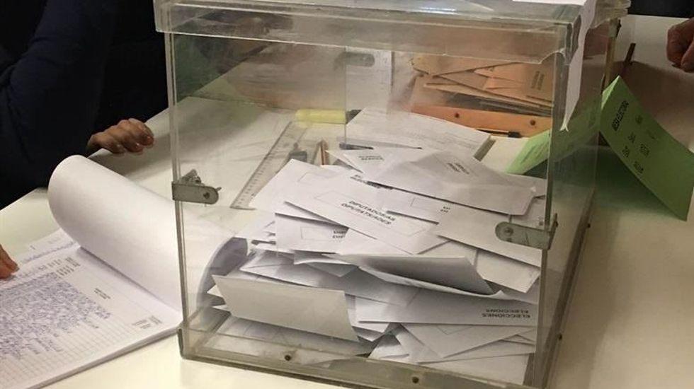 Una urna con votos