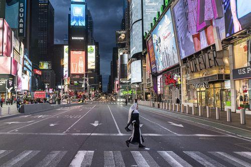 Times Square (Nueva York), casi vacío por el coronavirus