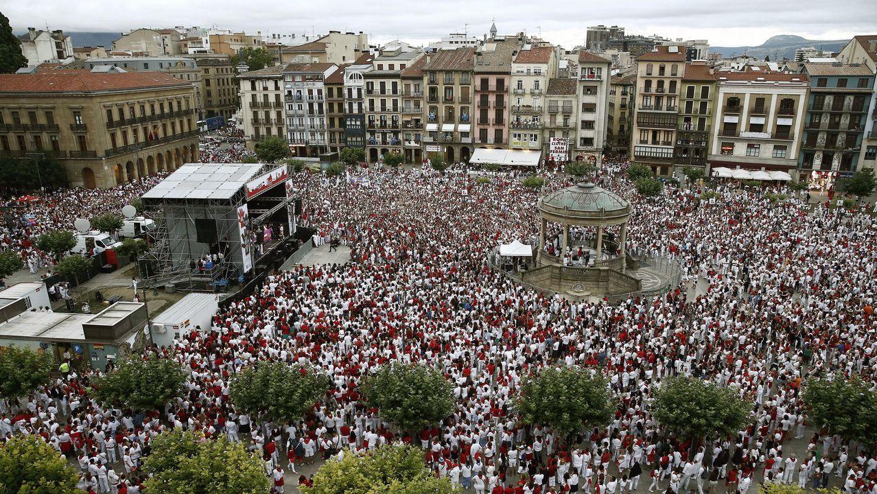 Protesta de rechazo a las agresiones sexuales en la plaza del Castillo de Pamplona
