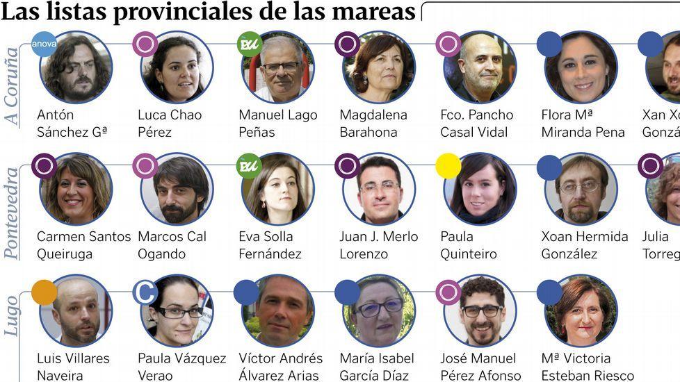 Encuentro de los candidatos de En Marea en Arzúa. Entre ellos, Xosé Zapata (de marrón), secretario general local