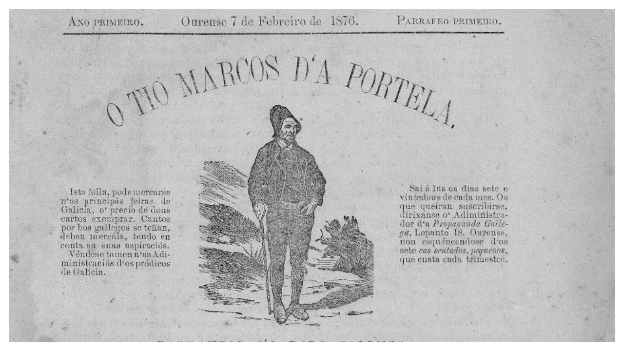 Detalle do primeiro número da publicación «O Tío Marcos d'a Portela»
