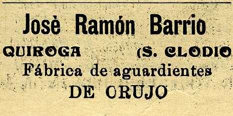 <span lang= es-es >Anuncios de fuera</span>. El periódico publicaba también anuncios publicitarios de casas de otra comarcas. Como este de una «fábrica de orujo» de Quiroga-San Clodio
