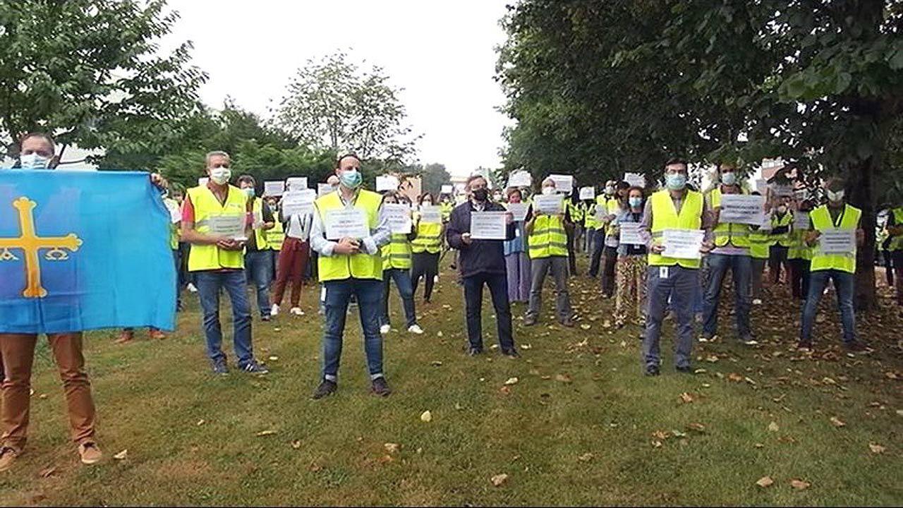 Concentración de los trabajadores de Sacyr Fluor