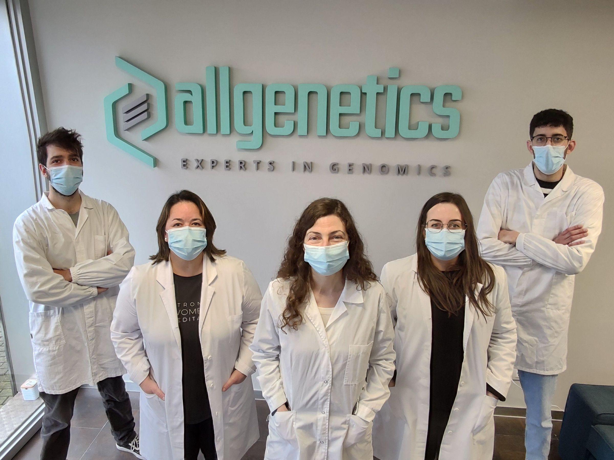Equipo del laboratorio de AllGenetics en la nueva sede de Oleiros