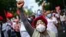Una mexicana durante las protestas de los trabajadores sanitarios que demandan mejores condiciones