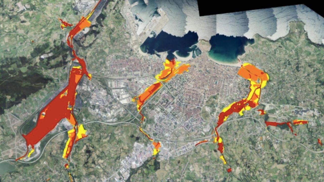 Gráfico inundaciones Gijón, en rojo las áreas como mayor peligro en los próximos 10 años, según el Observatorio de Sostenibilidad