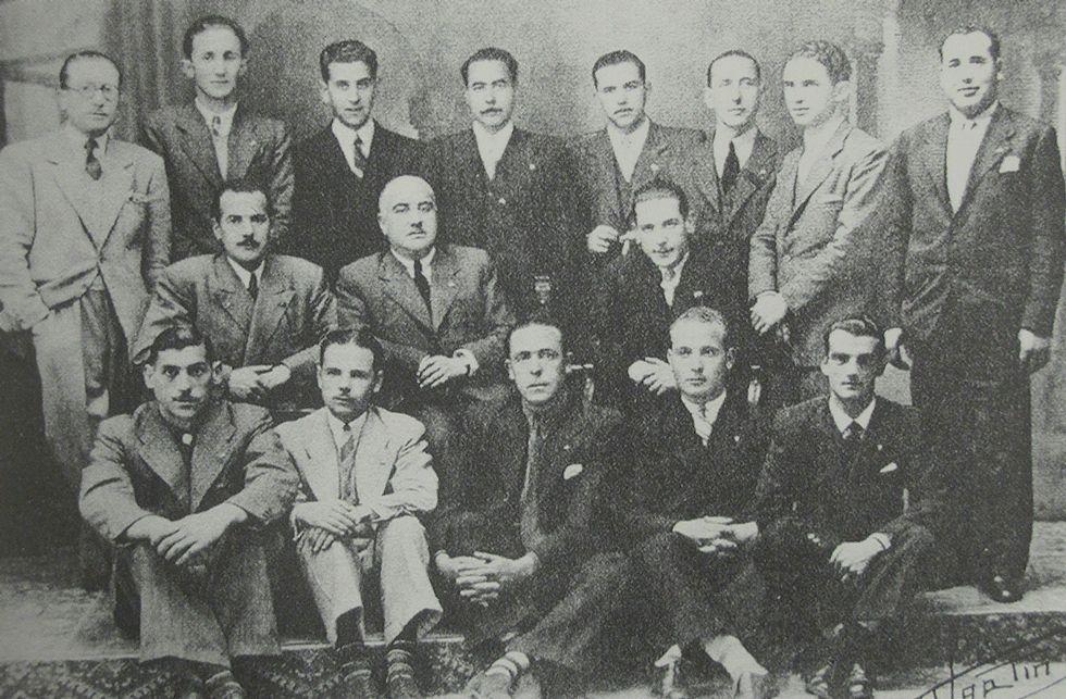 Miembros de la primigenia junta directiva del Arousa.