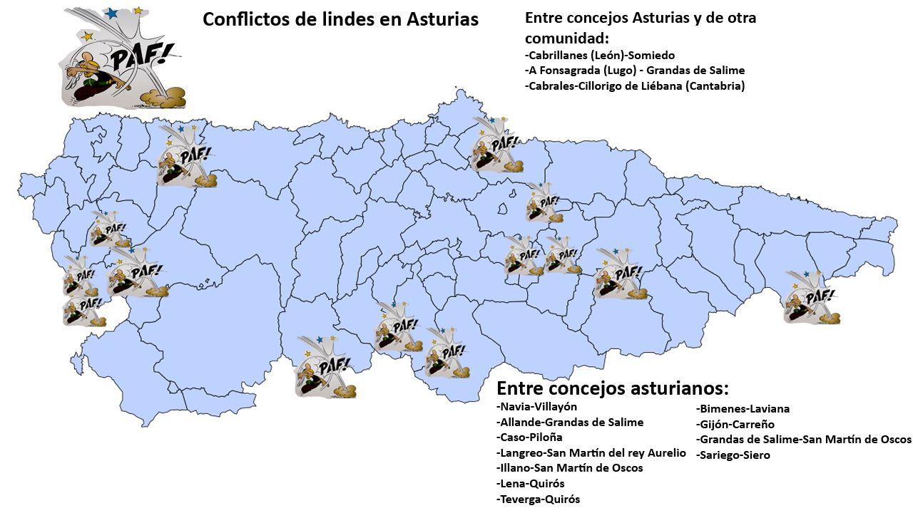 Conflictos de lindes en concejos asturianos desde el año 2005. Fuente: Instituto Geográfico Nacional