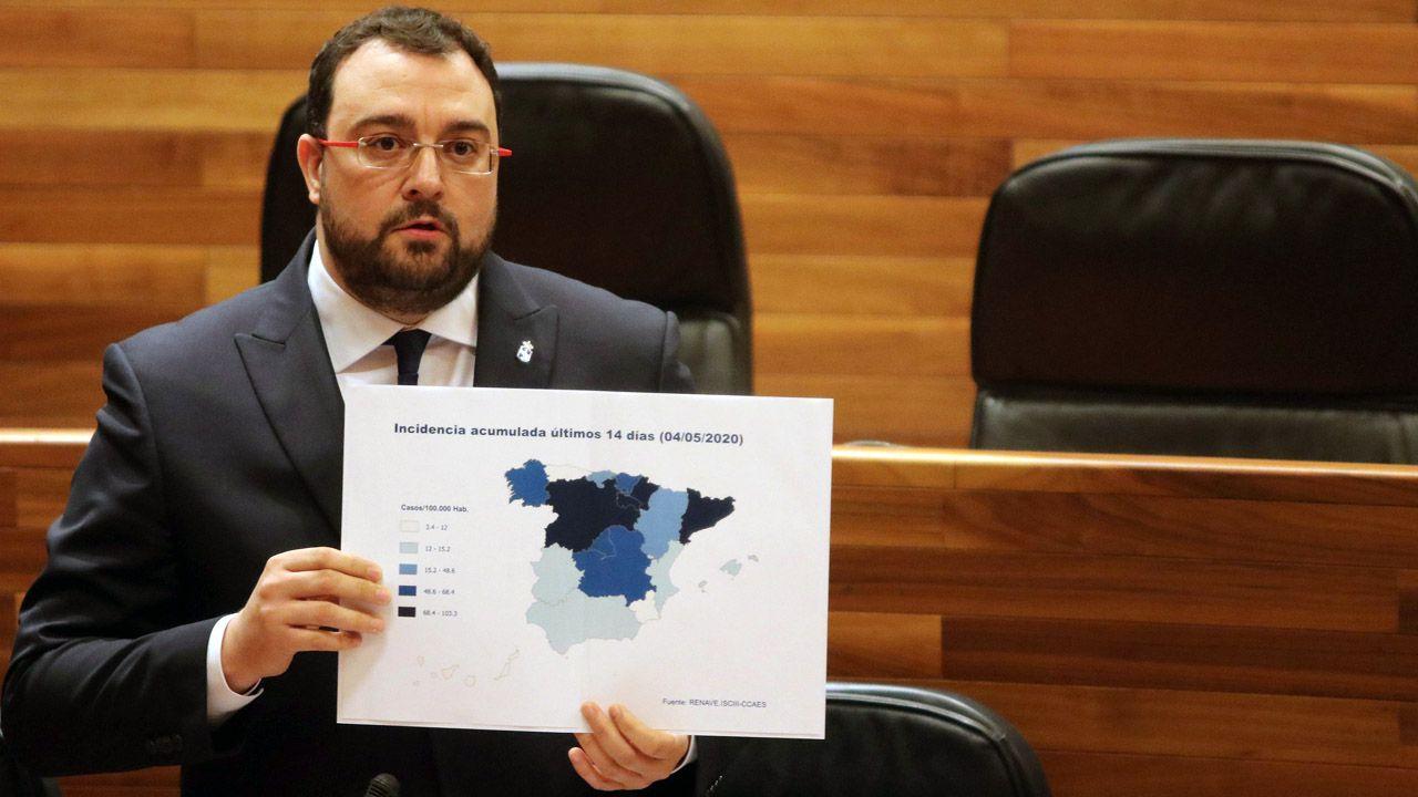 El presidente del Principado, Adrián Barbón, muestra un gráfico con la incidencia del coronavirus por regiones