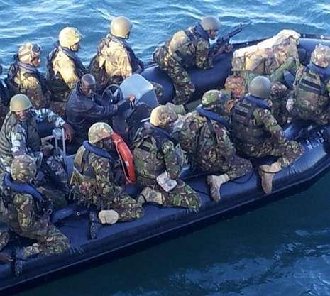 Militares kenianos que participaron en combates  en Kismayo.