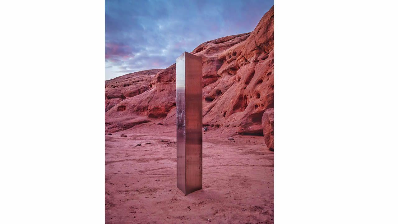 Imagen del monolíto hallado en el desierto de Utah, en noviembre del 2020