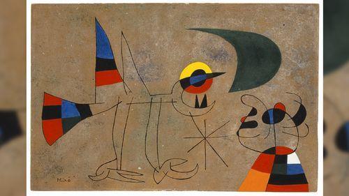 Le Chant de l'oiseau à la rosée de la lune / El canto del pájaro al rocío de la luna, una obra de Miró de 1955