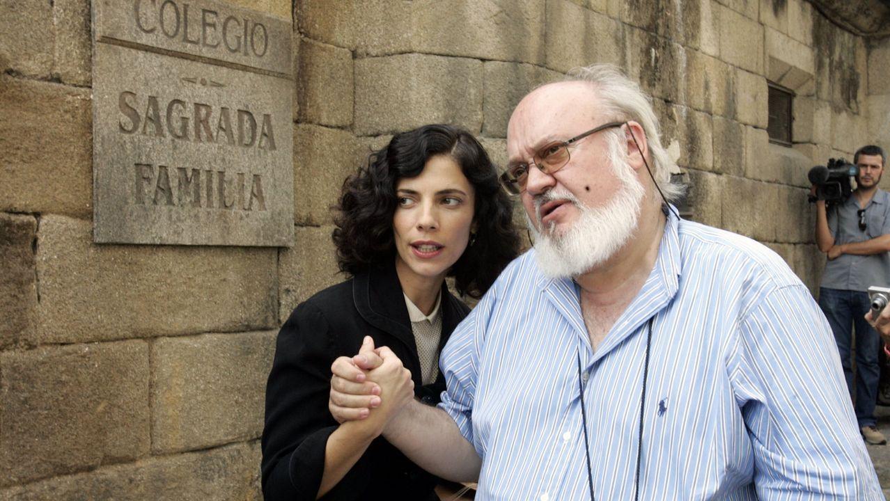 José Luis Cuerda, con Maribel Verdú, en Ourense, no 2007, durante a rodaxe de «Los girasoles ciegos»