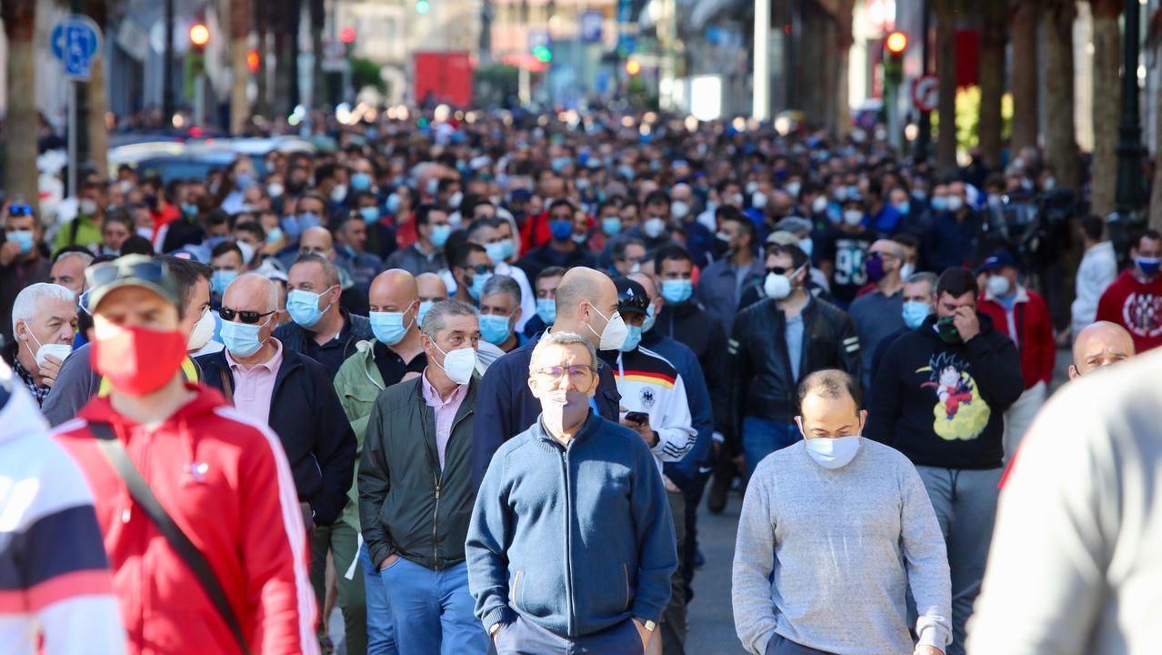Manifestación del naval tras la muerte de un compañero en Vigo.Abel Caballero, durante su intervención en el pleno de la FEMP del pasado septiembre