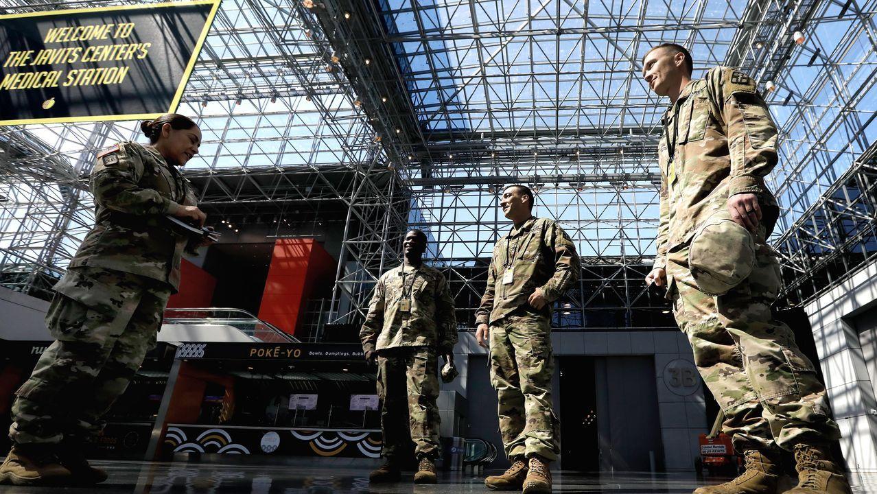 Tropas del Ejército norteamericano en el Jacob Javits Center de Nueva York