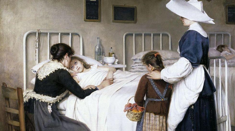 «La visita de la madre al hospital» (1892, Museo del Prado), óleo del riojano Enrique Paternina García-Cid que estimuló al joven Picasso en Barcelona para que pintara la primera de sus grandes creaciones: «Ciencia y caridad»