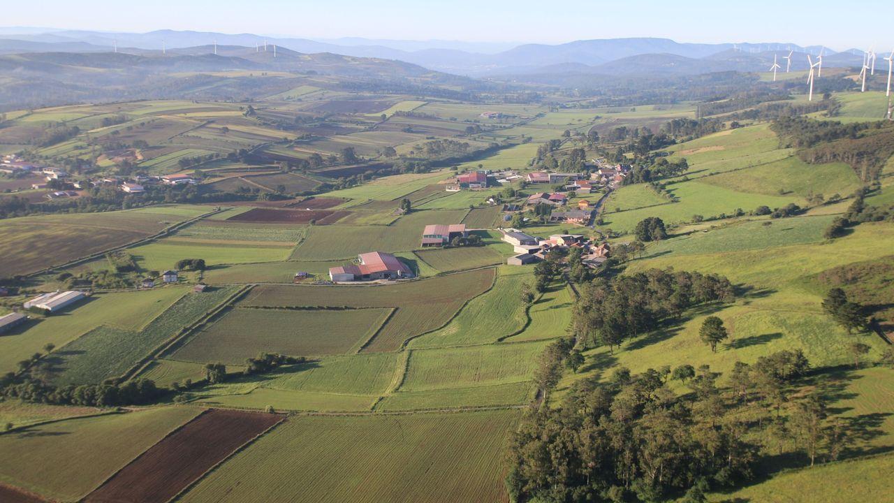 Agricultores de Mazaricos trabajan en la campaña de forraje en Castilla.Mazaricos es uno de los municipios donde las fincas de cultivo tienen una mayor extensión