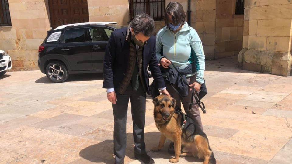 El edil de Ciudadanos, Nacho Cuesta, con Miguel, el perro de cinco años que ya ha sido liberado