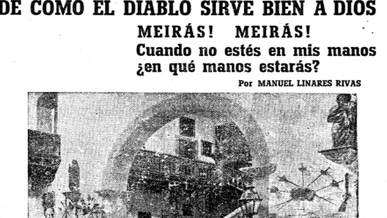 A la izquierda, reproducción del encabezamiento de la colaboración de Manuel Linares Rivas en La Voz, en mayo de 1938