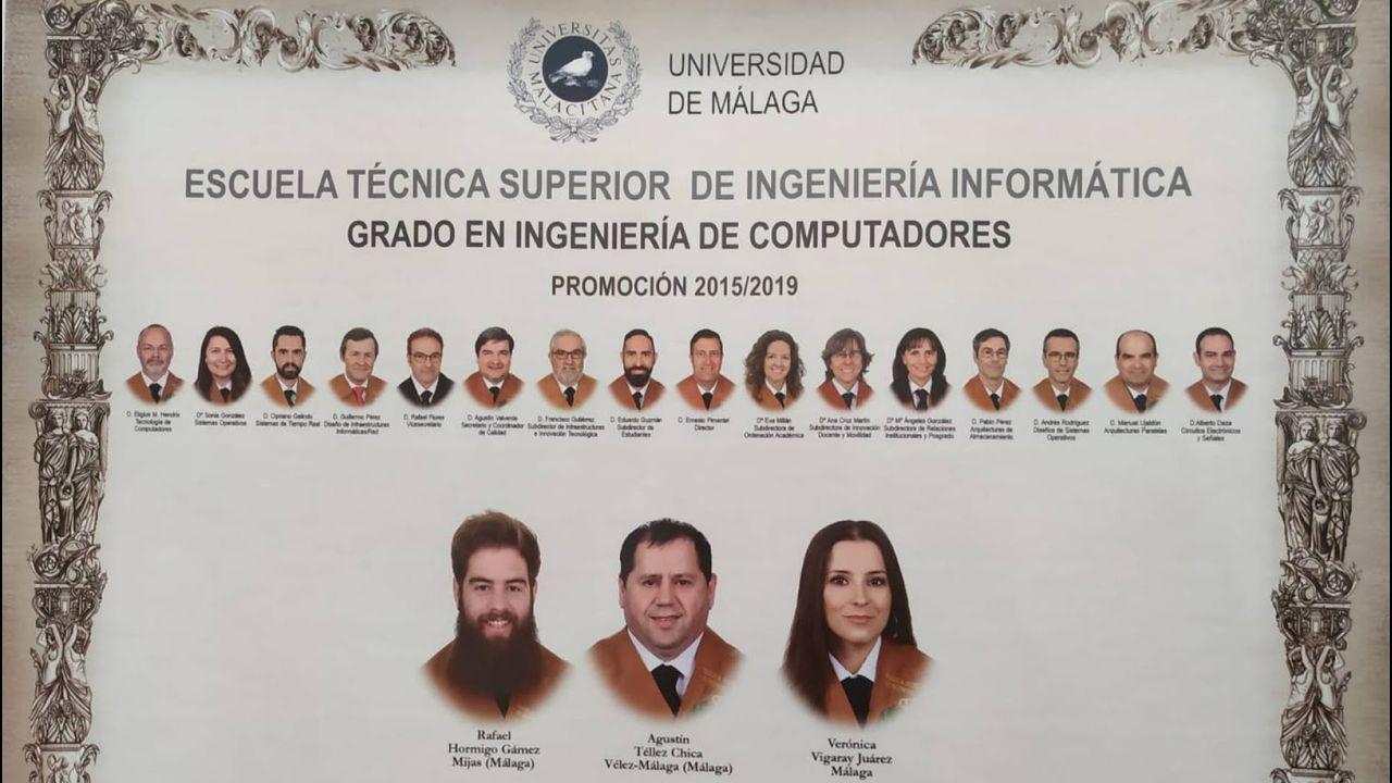 Orla de Ingeniería de Computadores de la Universidad de Málaga, con tres alumnos y 15 profesores