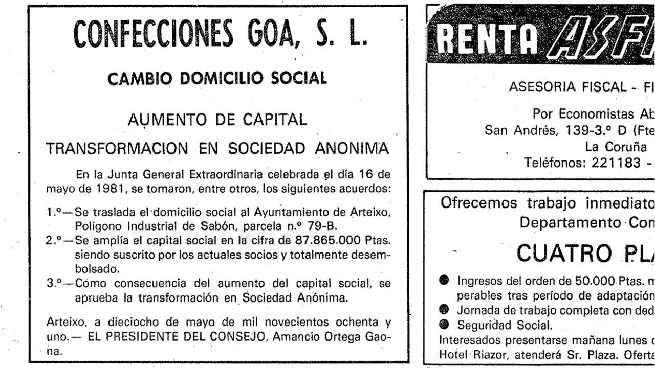24 de mayo de 1981: Confecciones GOA se transforma en Sociedad Anónima