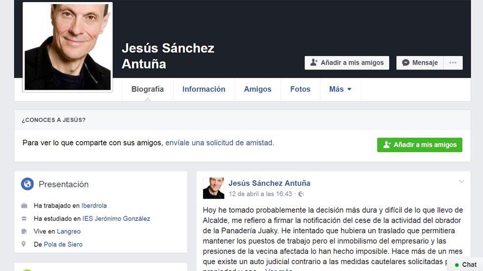 Facebook del Alcalde de Langreo, Jesús Sánchez.Facebook del Alcalde de Langreo, Jesús Sánchez
