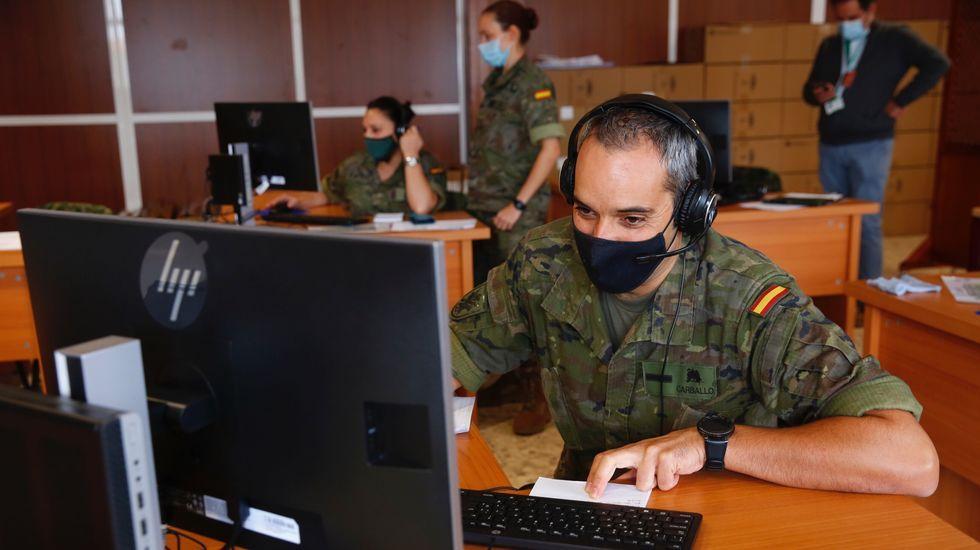 Rastreadores de la Brilat trabajando en el control de enfermos de Covid-19