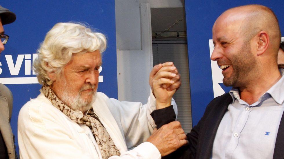 Luís Villares, con el presidente del Parlamento de Galicia, Miguel Santalices