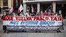 Convocadas por varios sindicatos, el pasado 3 de agosto varias personas se concentraron frente al Ministerio de Asuntos Exteriores exigiendo que actúe para liberar a Pablo Costas