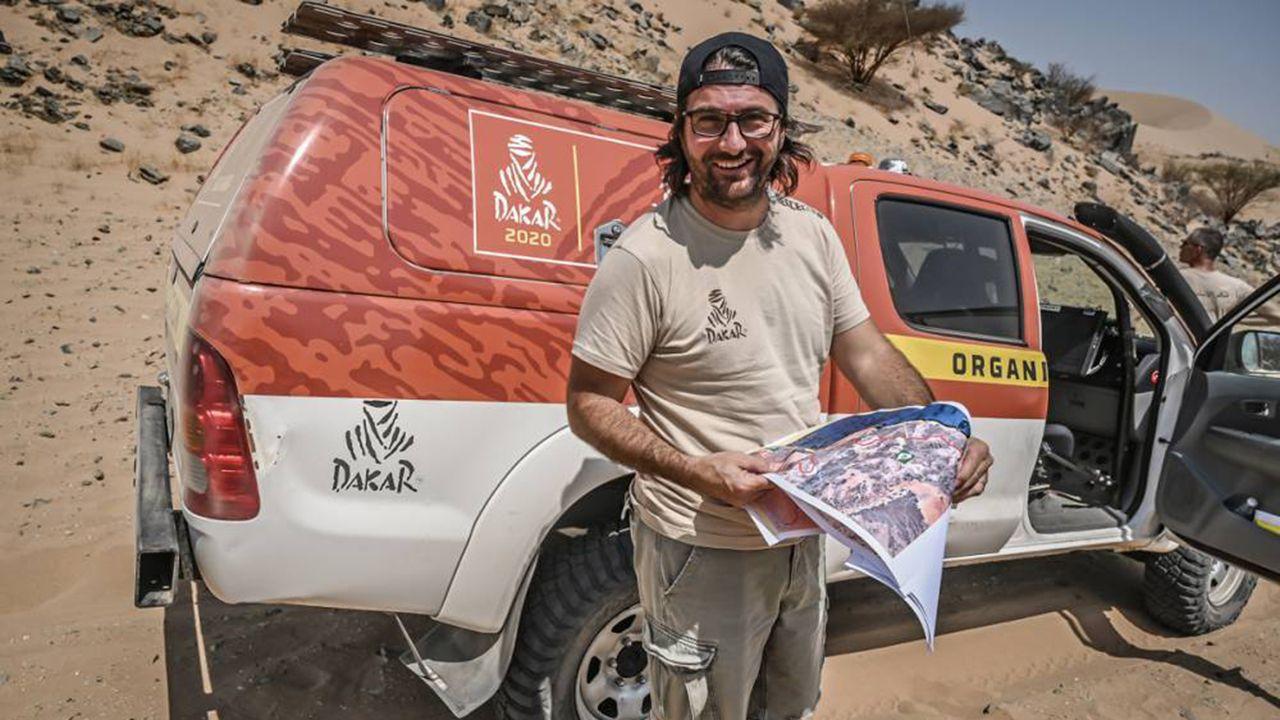 David Castera, durante el reconocimiento del recorrido del Dakar 2020