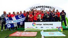 Jugadores del Espanyol y el Athletic, primer y segundo clasificados de la Liga Genuine del año pasado