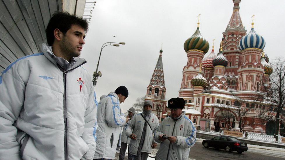 Oubiña, un estandarte. El céltico fue el que recuperó el protagonismo de la cantera en el equipo y en Europa. En la imagen, en Moscú, donde el Celta se midió al Spartak.