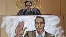 Dibujo de Klete Keller durante el juicio