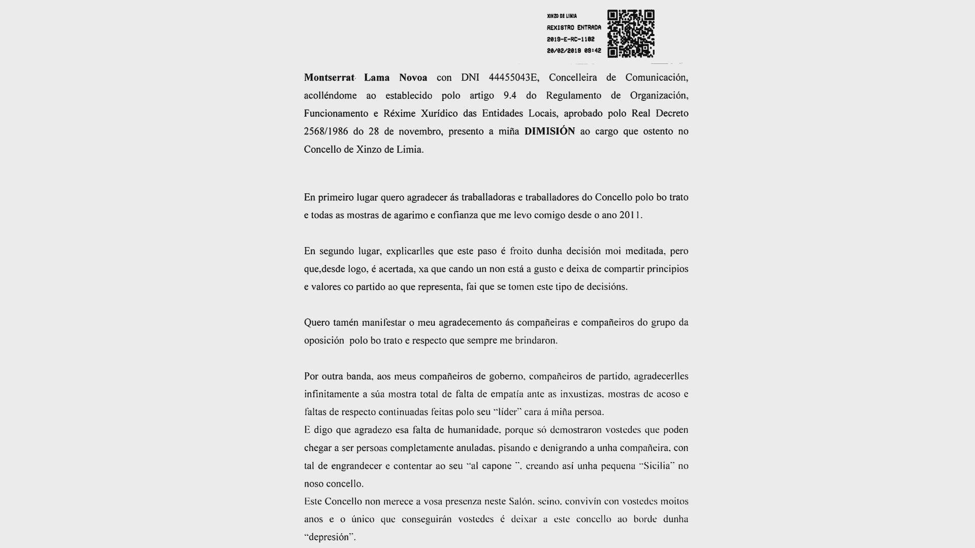 En su carta de dimisión como concejala en Xinzo, Lama se despide con reproches a sus compañeros y con graves insultos al exalcalde