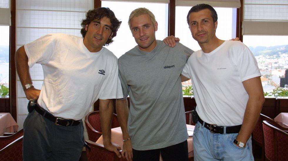 Con Patxi Salinas y Ratkovic, años después de dejar el equipo.