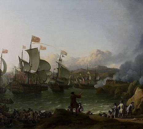 Ilustración de Ludolf Bakhuizen sobre la batalla de la bahía de Vigo.