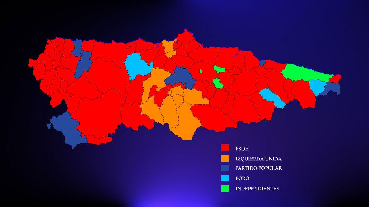 Mapa municipal de Asturias tras las investiduras de junio de 2019