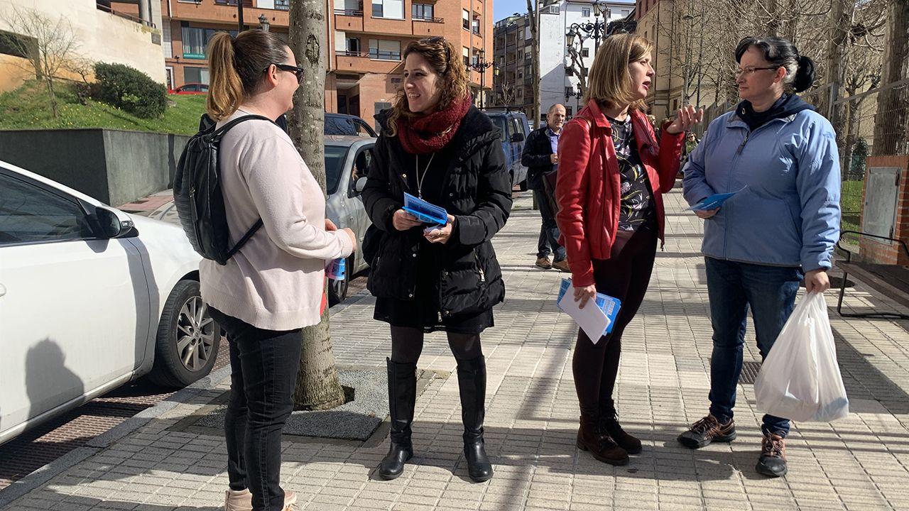 Desde la izquierda, Ricardo Fernández (PSOE), Ana Taboada (Somos), el alcalde de Oviedo, Wenceslao López, y Cristina Pontón (IU).Anabel Santiago y Ana Taboada en el Colegio Público Veneranda Manzano