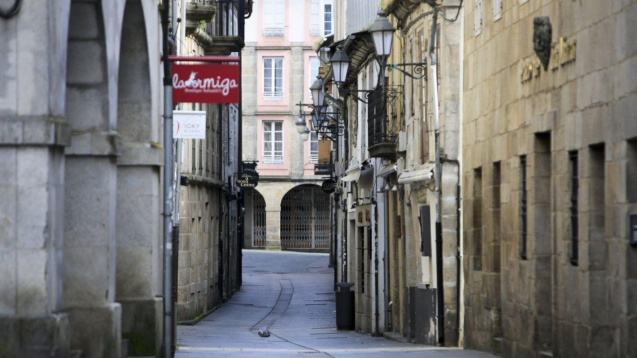 La Rúa Nova de Lugo, vacia durante el confinamiento