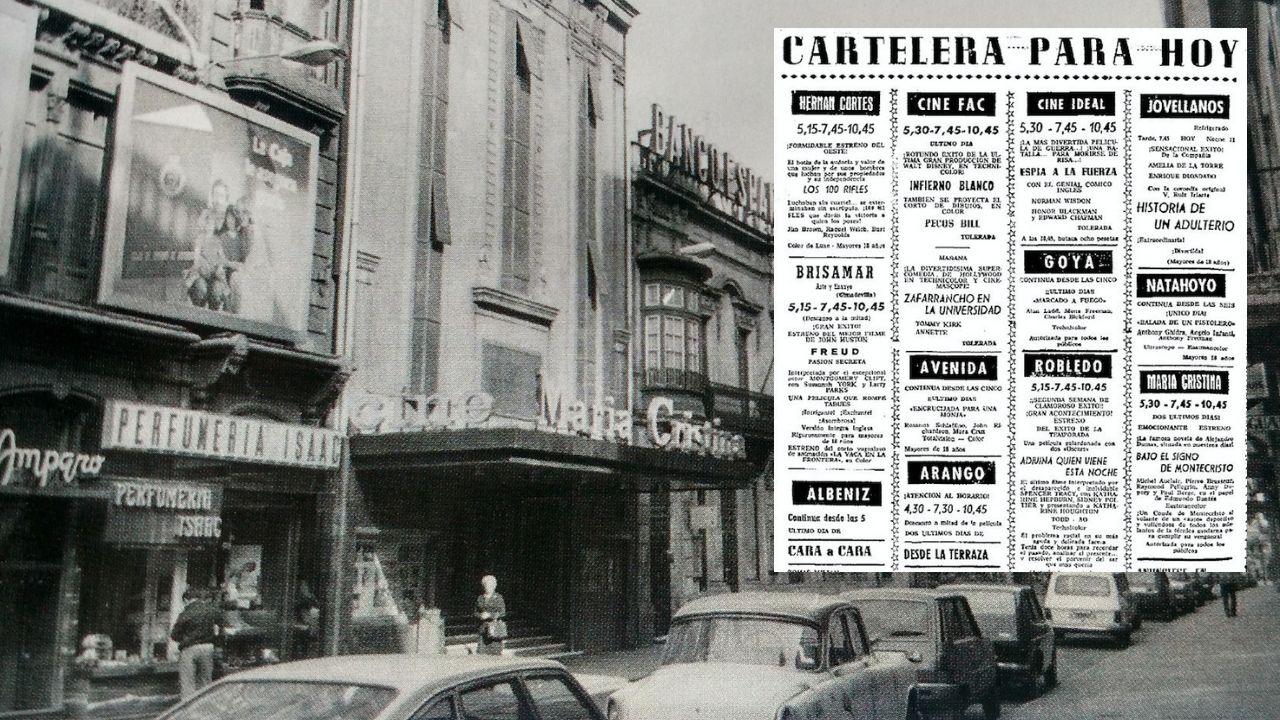 La cartelera del 26 de agosto de 1969 en Gijón, sobre una vista de la calle Corrida, con el cine María Cristina, en los años 70