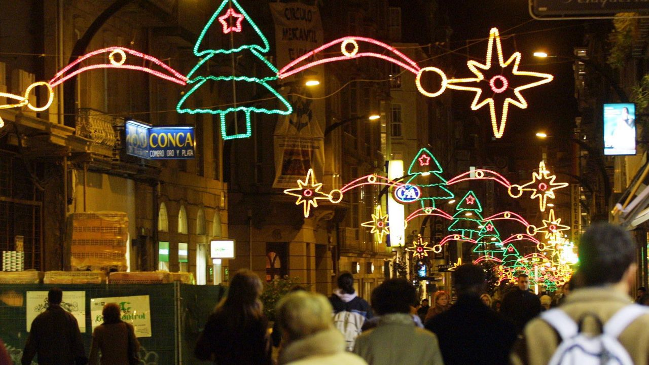 Calle Príncipe, ya con iluminación led, en el año 2003