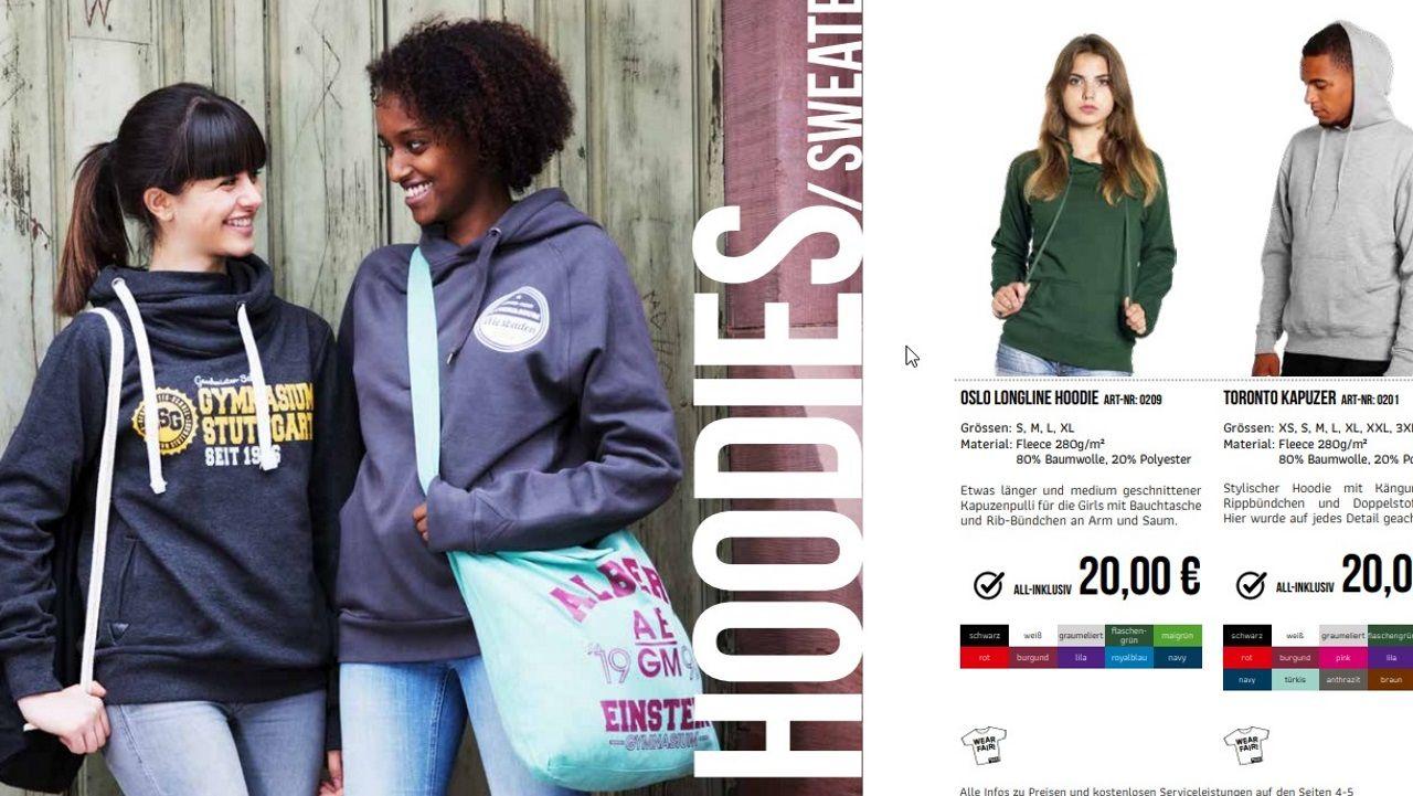 Imagen del catálogo de «ropa escolar», que consiste básicamente en grabar en camisetas y sudaderas un logo propio