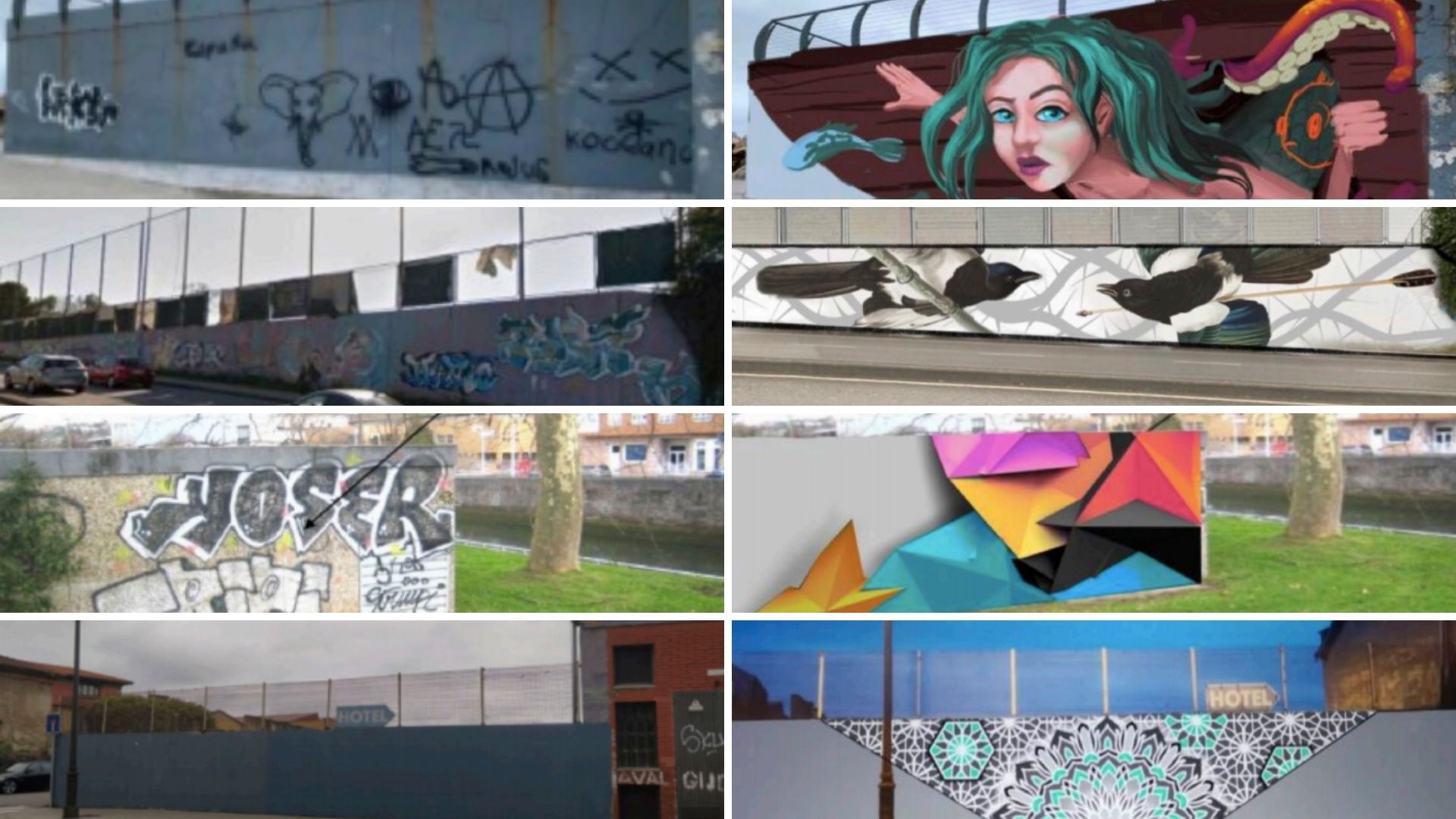 Cuatro de las zonas que se van a muralizar, con el resultado previsto a la derecha de cada imagen de la izquierda, a partir de septiembre en Gijón