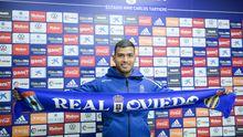 Nahuel Leiva en su presentación como jugador del Real Oviedo