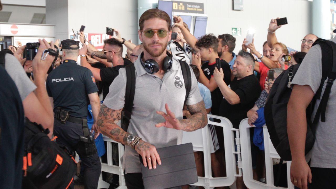 La llegada del Real Madrid a Peinador, en imágenes