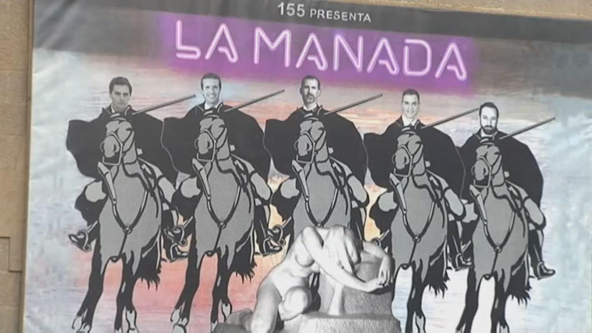 Polémico mural en Olot: compara a los líderes políticos con «La Manada».Pablo Iglesias