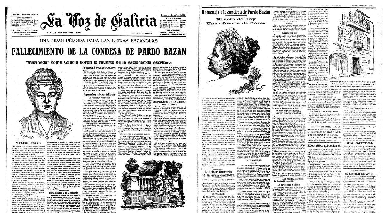 La Voz de Galicia publicó en primera página las noticias del fallecimiento de la autora y un homenaje posterior