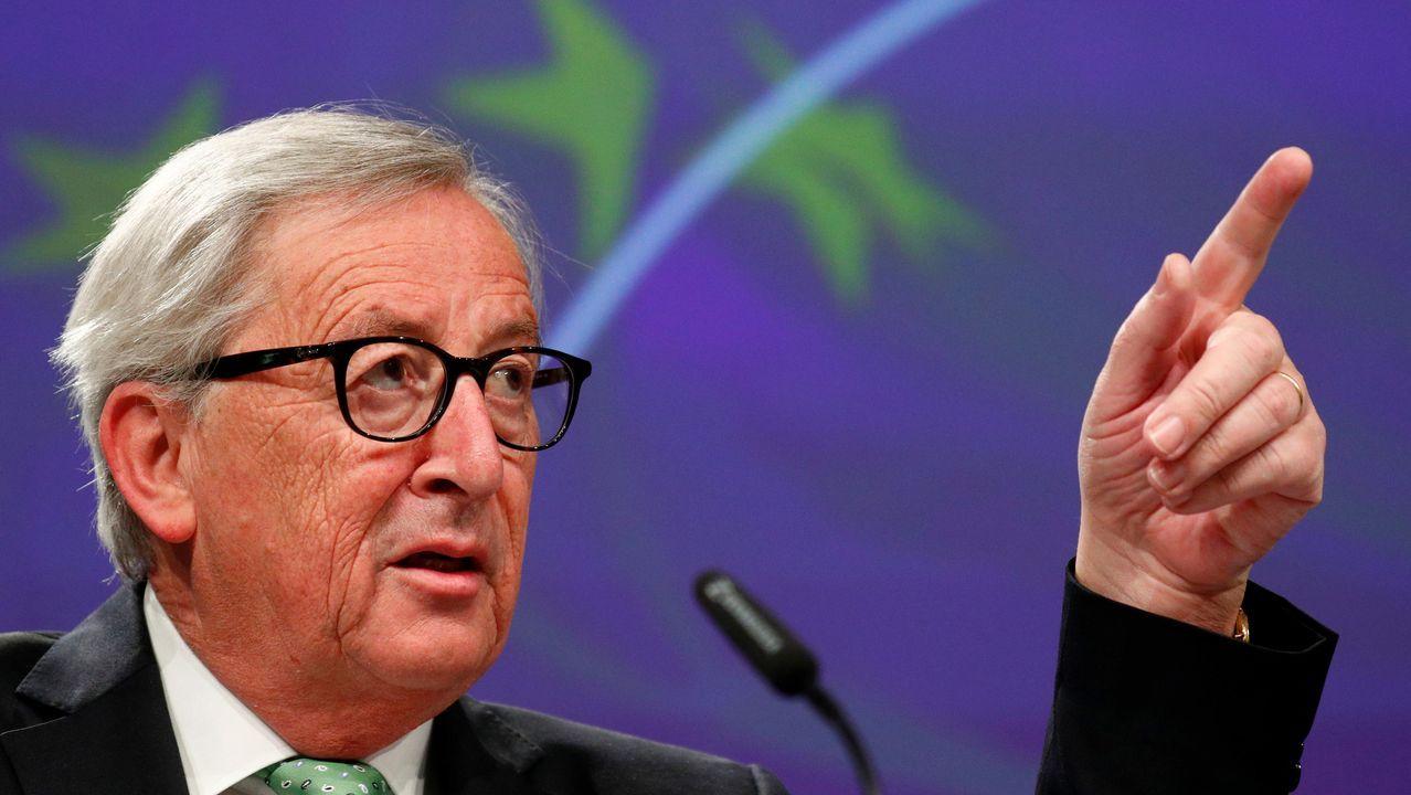 Aspirantes a dirigir los puestos más relevantes de la UE.Jean Claude Juncker, durante la conferencia de prensa en Bruselas