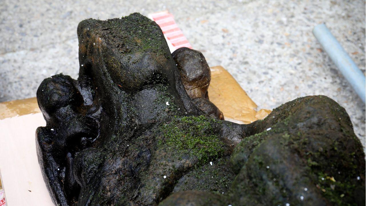 Detalle de la estatua encontrada en el Sar